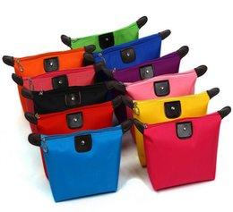 Compra Online Monederos de las señoras de color beige-Señora Maquillaje bolsa cosmético compone el bolso de embrague colgante del recorrido de artículos de tocador Kit organizador de la joyería monedero ocasional 10 de color el envío libre