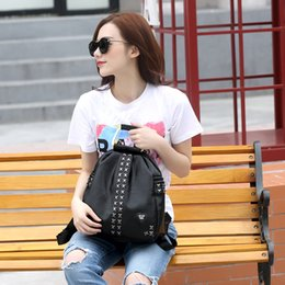 Wholesale Fashion trend rivets women backpack new waterproof back pack layer leather korean style bag Z M0608