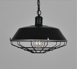 Wholesale 2016 new Dia cm American industrial loft Vintage pendant lights for dining room iron black rust painted E27 Edison bulb home lamp