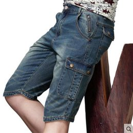 men pants summer denim capris professional craft jeans pants straight cotton trousers
