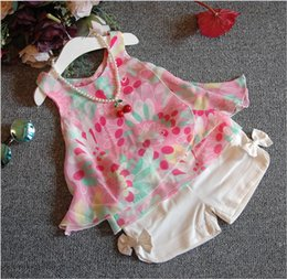 Korean Style 2016 New Girl Summer Clothing Sets Children Floral Printing Sun-Top+Bowknot Shorts 2pcs Set Kids Casual Outfits Cute Girls Suit