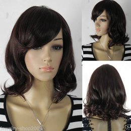 100% Brand New High Quality Fashion Picture full lace wigs>>FASHION wig Cosplay short Dark Brown Curly Wavy Wigs
