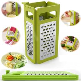 Cuadro de rallador de cocina en Línea-Gadgets de cocina 4 en 1 caja plegable Dispositivo de rallador Cortador de queso rallado Plano grueso fina cinta grabada cuchillas Herramientas de cocina