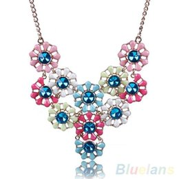 Women's Bohemian Resin Flowers Rhinestone Choker Collar Chain Necklace Pendant
