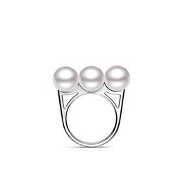 Bague en argent de taille flexible, anneau en argent massif avec imitation de trois perles pour femmes, anneau en argent réglable - RS03803 à partir de perle solide fabricateur