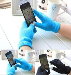 Wholesale DHL Free shipping Knit Wool Touch Gloves for iPhone Touch Screen Gloves for iPad for Christmas Gift