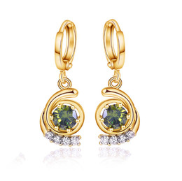 Yolanda Jewelry 2016 Korean Delicate Earrings Fine Earring Clip Green Clear CZ Earrings Fashion Jewelry for Promotional