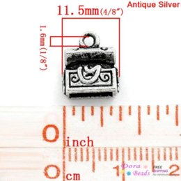 Wholesale Charm Pendants Treasure Chest Antique Silver x10mm K10013 years silver heatsink silver mat silver mat