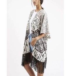 Wholesale women cover ups coats high quality geometric pattern tassel hem female loose cardigans casual beach LBAI0144