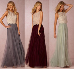 2018 Vintage Two Pieces Tulle Bridesmaid Dresses Lace Crop Top Ruched Floor Length Blush Mint Grey Burgundy Prom Party Gowns Custom Made