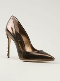 Wholesale 2016 Europe petent leather coffee color Shallow mouth high heeled pumps rhinestone rivets heels pointed toe woman single shoes