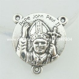 Wholesale 16776 Alloy Antique Silver Vintage Pope John Paul II Coin Connector Charm