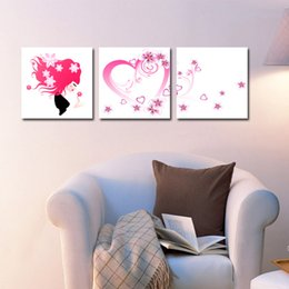 Home decoration unframed 3 Pieces picture free shipping Canvas Prints Cartoon flower beauty butterfly tulips rose petal Crane