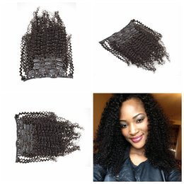 Unprocessed Brazilian Afro Kinky Curly hair Clip In Hair Extensions,7Pcs 120g,Natural Black Color Clip In Human Hair Weaves G-EASY