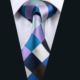 New Style Blue Plaid Necktie for Men Jacquard Woven Silk Tie Business Party 8.5cm Width Necktie D-0413