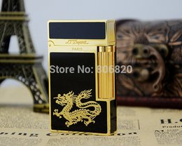 Wholesale S T Memorial Dupont lighter Bright Sound New In Box black gold Chinese dragon Serial number C122