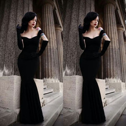 Sexy Evening Velvet Dresses Fitted Mermaid Off the Shoulder Sleeveless Trumpet Floor Length Custom Made Cheap Black Prom Party Gowns Gothic