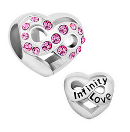 Rhodium plating pink crystal paved Infinity Love bead European family Charm For Pandora style DIY Bracelet