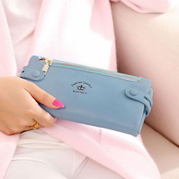 Women Lady Vintage PU Leather Cluth Button Zipper Coins Long Purse Wallets Pink Black Blue Green Light Purple