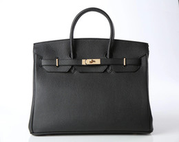 Women Designer Handbags High Quality Black Litchi Genuine Leather 35CM Famous Brand Tote Bags Gold Silver Hardware
