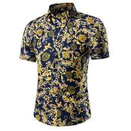 Men's shirts Men's 2016 Slim social camisa clothing cotton short-sleeved T-shirt Summer Beach Floral Mens dress shirt camisa M~5XL