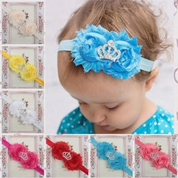 Wholesale Shabby Chic Lace Flowers - 15COLORS Double Shabby Chic Chiffon Flower With Tiara Crown on Elastic Headband 20pcs lot
