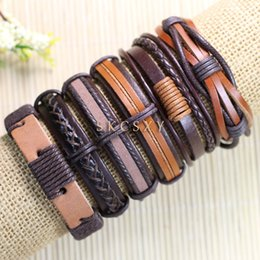 Free shipping wholesale (6pcs lot) cool bangles ethnic tribal genuine adjustable leather bracelet for men-TE3