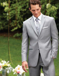 Wholesale-Custom Made Two Buttons Light Grey Groom Tuxedos Notch Lapel Best Man Suits Groomsmen Men Wedding Suits (Jacket+Pants+Vest+Tie)