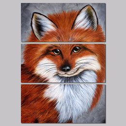 Wholesale 3pcs Modern Animal Fox decoration brown white pet baby goldfish wall art picture poster Canvas Painting for living room unframed