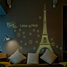 Wholesale 175x140cm Fluorescent Eiffel Tower Airplane Wall Stickers for Kids Rooms Living Room Home Decor Wall Decor Decoration Mural Art