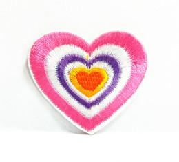 Wholesales~10 Pieces Cutie Rainbow Heart Kids Patch (5 cm x 4 cm) Embroidered Applique Iron On Patch (AL)