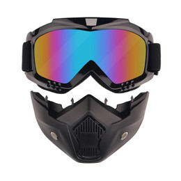 Harley Style Motorcycle Goggles with Mask Removable, Helmet Sunglasses Protect Padding, Road Riding UV Motorbike Glasses