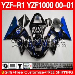 Wholesale 8gifts Blue flames For YAMAHA YZFR1 YZF1000 YZF R1 YZF YZF R1 Blue black Fairing Body