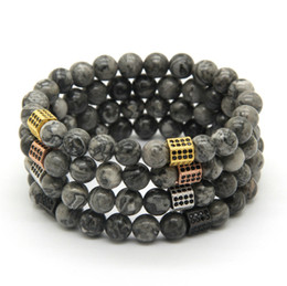 Wholesale 10pcs lot 8mm Grey Jasper Marble Stone Beads with Rectangle Micro Inlay Black Zircon cz Beads Bracelets Gift