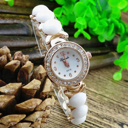 Wholesale pieces half round copy ceramic beads deco metal belt gold plate case with crystal gerryda fashion woman lady quartz watches