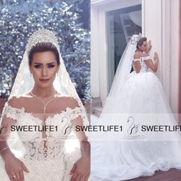 2016 Full Lace Ball Gown Vestidos De Novia White Ivory Wedding Dresses with Off Shoulder Custom Made Said Mhamad Sexy Open Back Bridal Gowns