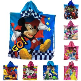 Wholesale Baby Bath Towels Bathrobe Superman Mickey Robes Bathrobe Cartoon Terry Bathing Robe For Children Kids Bathrobe Age cm