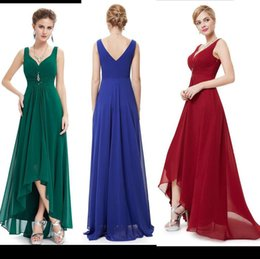 Wholesale 2016 New Cheap Bridesmaid Dresses A Line V Neck Backless High Low Long Max Chiffon Party Prom Gowns Plus Size Color