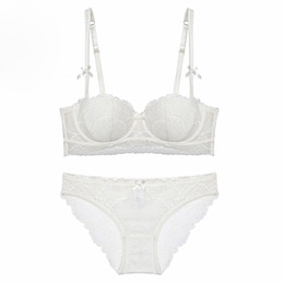 White black wine red sexy lace women bra set half cup cotton thin female underwear sets push up lingerie plus size Bra & Brief