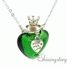 heart foil aromatherapy jewelry wholesale jewelry scents essential oil pendant empty vial necklace lampwork glass diffuser jewelry
