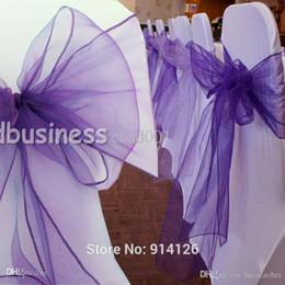 2017 arcs décorations mariage Haute Qualité Cadbury violet Organza chaise de vantaux de prix en gros-Fatory Bow Couverture Wedding Banquet Venue Décoration budget arcs décorations mariage