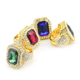 Wholesale Men s k Gold Plated Ruby Hip Hop Men Ring Famous Brand Iced Out Micro Pave Cz Ring Punk Rap Jewelry Size Available