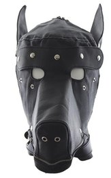 Faux Leather Bondage Fetish Pony Play Hood Doggy Puppy Full Hood Mask Costume With Eyes-patch & Mouth Zipper