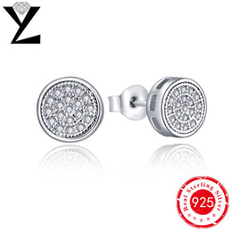 YL 925 Sterling Silver Cubic Zirconia Halo Stud Earrings with White Gold Plated Classic Earring DE20000A