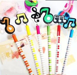 Gros-6pcs / lot Creative note musicale crayon de bois de papeterie mis Kid cadeaux mis en fournitures scolaires de bureau matériel escolar infantil supplier note pencil à partir de note crayon fournisseurs