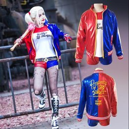 Wholesale Suicide Squad Harley Quinn Cosplay Costume Clothing Women Batman Arkham Asylum City Joker Movie Halloween Embroidery Jacket Cosplay Suit