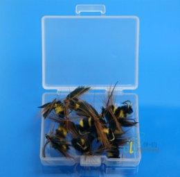 Wholesale 12 Foam Bee Trout fishing flies Box Packing Set Fly fishing Lure Artificial bait Fly Fishing w Free Box D505