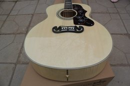 "Wholesale Ebony Fretboard S J 200 43"" Nature Burlywood * Solid Spruce Top J200 NA Maple Sides & Back Acoustic Guitar China Custom Shop"