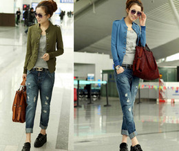 Wholesale-ON SALE Autumn Winter Fashion 3Colors Long Sleeve Double-Breasted Stand Collar Military Jacket Outwear For Women Size M- XXL