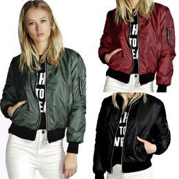 Wholesale 2016 Autumn Slim Bomber Jacket Women Stand Collar Coats Zipper Casual Long Sleeves Sports Coat Outwear